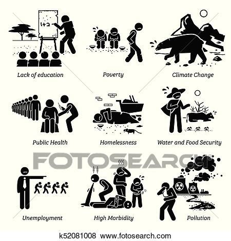 Clip Art of Social Issues and Critical Problems Pictogram