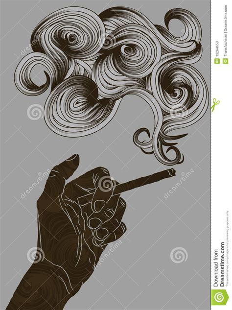 Abstract Illustrated Hand Holding A Cigarette Royalty Free