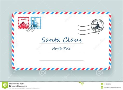 Santa Claus Christmas Mailing Address Letter Post Vector