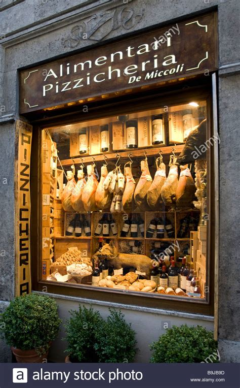 Display window of a ham and wine store in the historic
