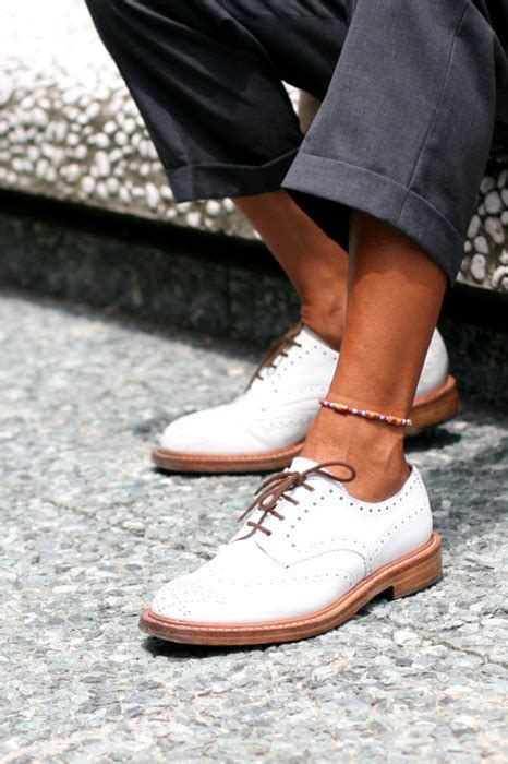 Fancy - White Wingtip Oxford Shoes