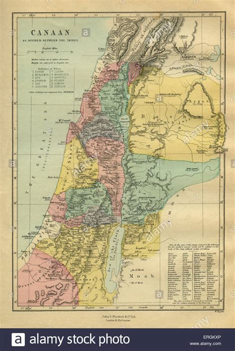 19th century map of Canaan (modern-day Israel, Palestinian